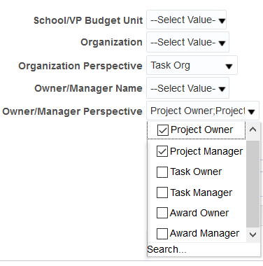 Screenshot showing Owner/Manager Perspective selection criteria