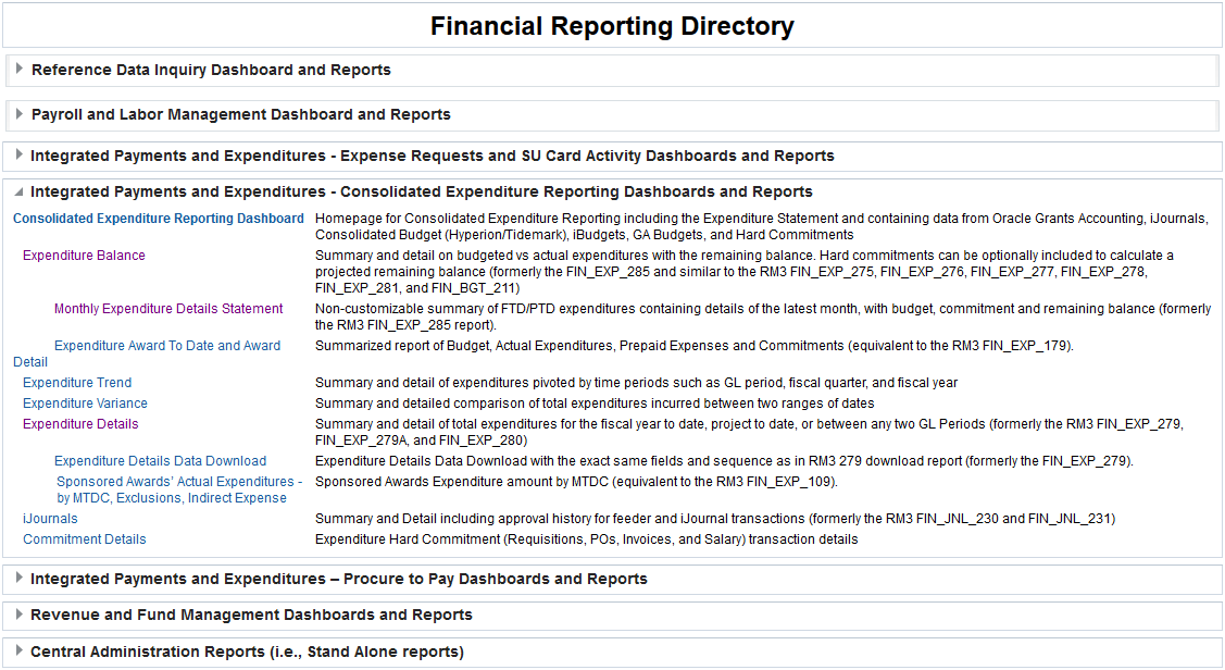 Screenshot of Financial Reporting Directory Home page